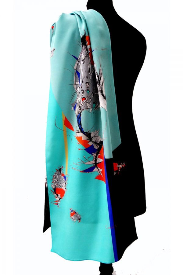 Cone on Turquoise Long Silk Scarf