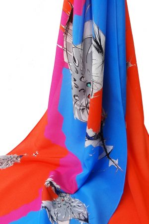 Dancing Cone Long Silk Scarf